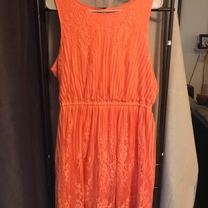 Coral Colored Lace Dress